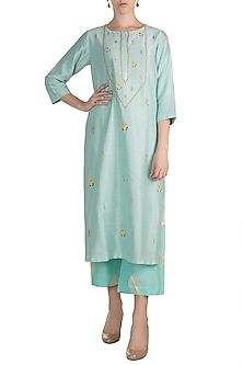 Sky Blue Embroidered Kurta With Palazzo Pants by Label Earthen