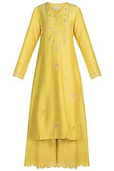 Yellow Embroidered Kurta With Pants by Label Earthen
