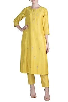 Yellow Zardosi Embroidered Kurta With Pants by Label Earthen