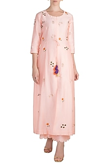 Peach Embroidered Jacket Dress With Palazzo Pants by Label Earthen