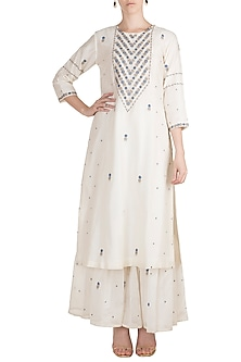 White Embroidered Sharara Set by Label Earthen