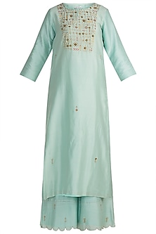 Sky Blue Hand Embroidered Kurta With Palazzo Pants by Label Earthen