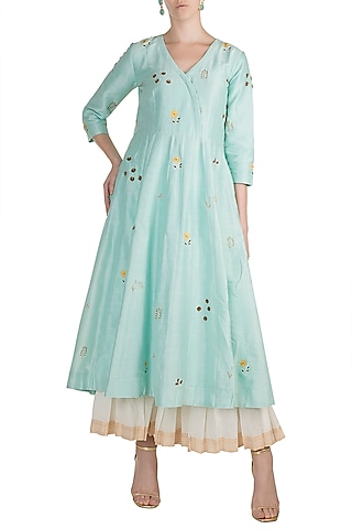 Sky Blue Zardosi Embroidered Kurta With Palazzo Pants by Label Earthen