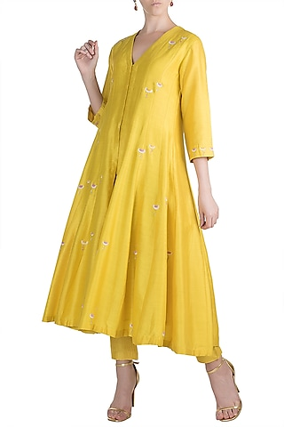 Yellow Embroidered Anarkali Kurta With Pants by Label Earthen