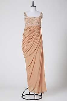 Nude Sequins Embroidered Saree Gown by Elena Singh