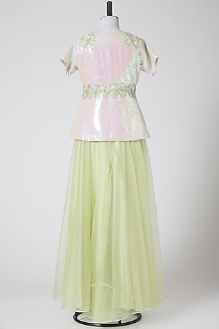 Mint Green Embroidered Sharara Pants by Elena Singh