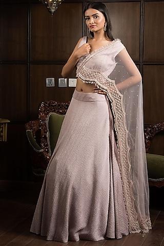 Mauve Embroidered Lehenga Set by Elena Singh