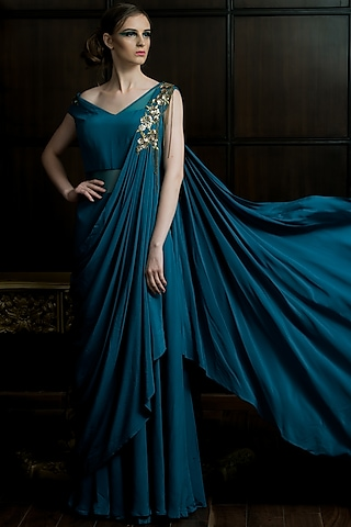 Green Embellished Saree Gown by Elena Singh
