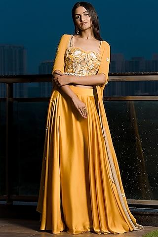 Mustard Embellished Lehenga Set by Elena Singh