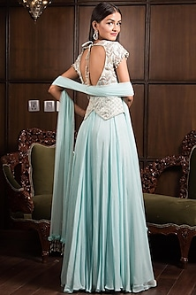 Pastel Blue Embellished Gown by Elena Singh