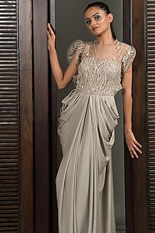 Silver Embellished Draped Gown by Elena Singh