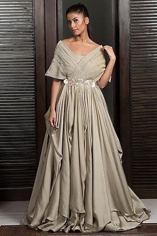 Gold Embellished Draped Gown by Elena Singh