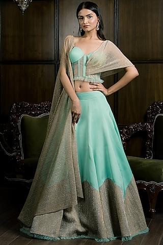 Powder Blue Shimmer Lehenga Set by Elena Singh
