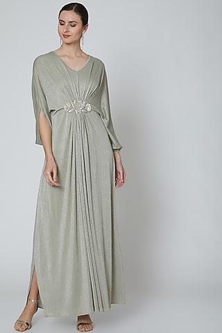 Earthy Grey Embellished Kaftan by Elena Singh