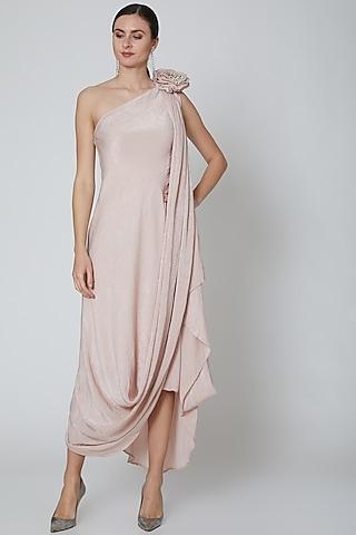Dusty Pink Embellished Draped Dress  by Elena Singh