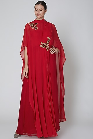 Red Embroidered Saree Gown by Elena Singh