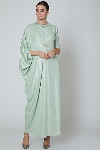 Pastel Green Embellished Gown by Elena Singh