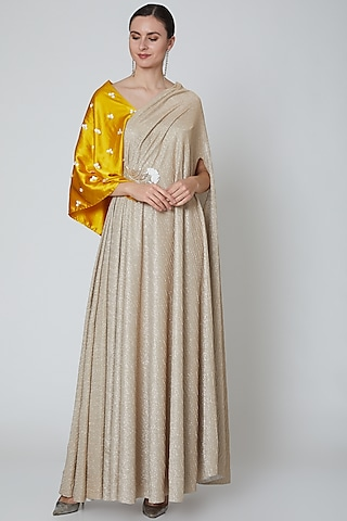 Gold & Yellow Embellished Gown by Elena Singh