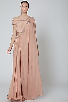 Dusky Rose Embellished Saree Gown by Elena Singh