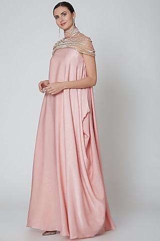 Rose Pink Embeliished Draped Gown by Elena Singh