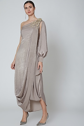Pastel Brown Embroidered Draped Dress by Elena Singh