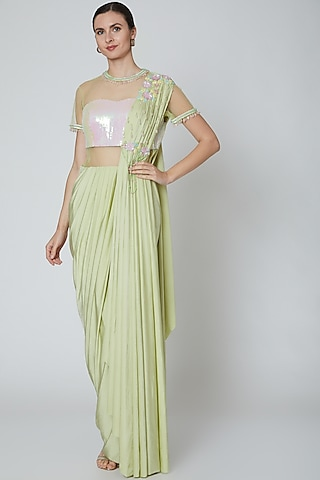 Pastel Green Embellished Pre Stitched Saree by Elena Singh