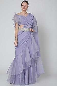 Mauve Embellished Ruffled Saree Set by Elena Singh