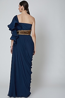 Navy Blue Embroidered & Draped Saree Gown by Elena Singh