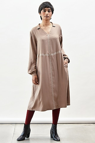 Mocha Dress With Stitch Detailing by Kanelle
