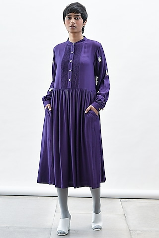 Purple Dress With Smocking Detailing by Kanelle