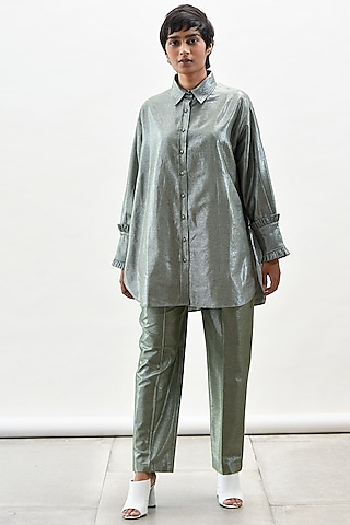 Green Frilled Shirt With Pants by Kanelle