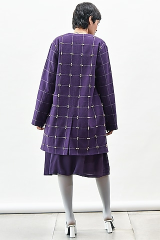 Purple Panelled Coat With Knot Detailing by Kanelle