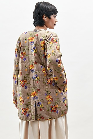 Beige Garland Printed Coat by Kanelle