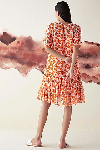 Orange Printed Sheer Body Dress With Slip by Kanelle