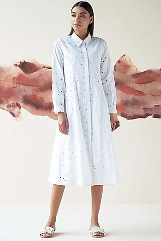 White Embroidered Multi-Paneled Dress by Kanelle