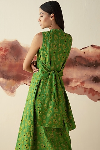 Green Embroidered Multi-Paneled Dress by Kanelle