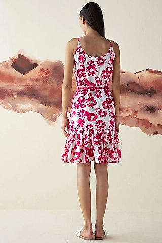 Pink Printed Slip Dress With Handmade Belt by Kanelle
