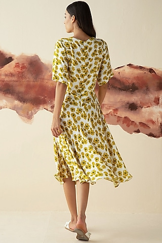 Olive Green Printed Flared Tea Dress by Kanelle