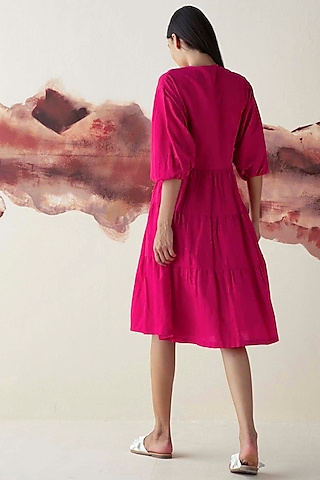Pink Two-Tiered Wrap Dress by Kanelle
