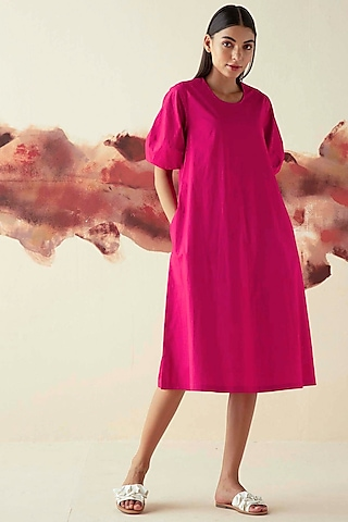 Pink A-line Dress With Puffed Sleeves by Kanelle