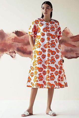 Orange Printed A-line Dress by Kanelle