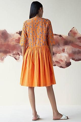 Orange Embroidered Dress by Kanelle