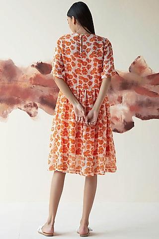 Orange Printed Sheer Dress by Kanelle