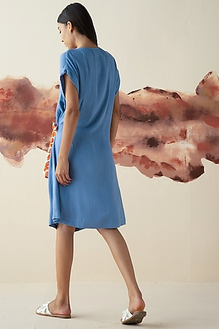 Blue Oversized Dress With Tie-Up Belt by Kanelle