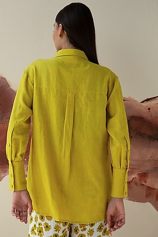 Olive Green Hand Embroidered Shirt by Kanelle