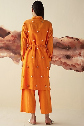 Orange Hand Embroidered Pant Set by Kanelle