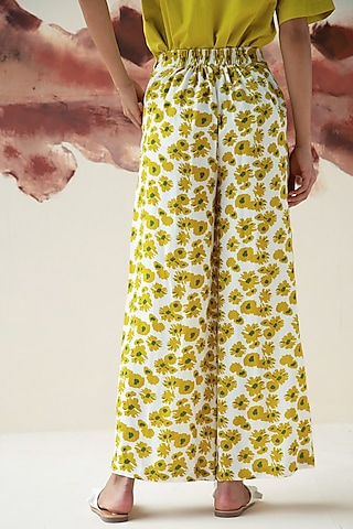 Olive Green Floral Printed Trousers  by Kanelle