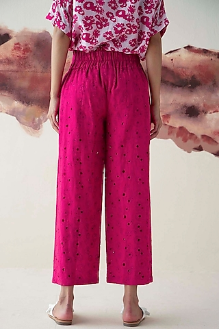 Pink Schiffli Embroidered Trousers by Kanelle