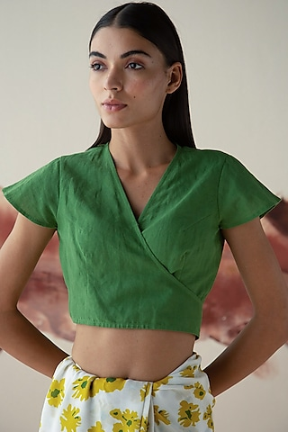 Green Wrap Blouse With Tassels by Kanelle