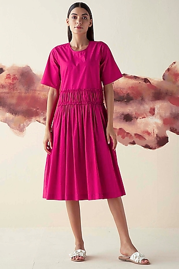 Pink Gathered Dress With Belt by Kanelle